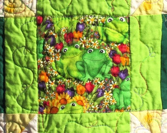 Frogs and Flowers, Gender Neutral Baby Quilt