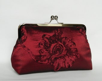 Burgundy Floral Silk Clutch, Burgundy Clutch, Clutch Purse, Wedding Clutch, Evening Clutch, Bridal Clutch
