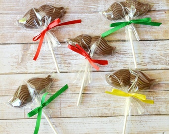 12 Milk Chocolate Mustache Lollipops Party Favors