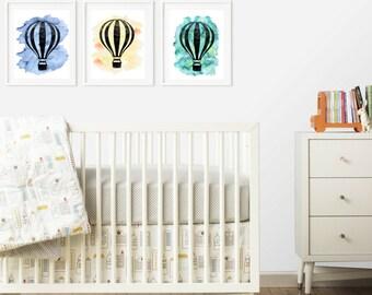 Gender Neutral Nursery Decor Bundle, Nursery Art, Instant Download SET OF 3 Printable Watercolor Hot Air Balloons 8x10 Digital Print