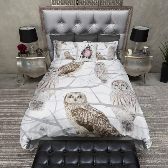 Lightweight Snow Owl Bedding Watercolor Snow Owl By Inkandrags