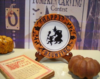 Halloween scene Miniature Plate for Dollhouse 1:12 scale