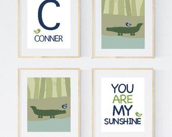 Alligator nursery art, alligator nursery prints, alligator nursery decor, Alligator Nursery Art, Set of 4, 8X10