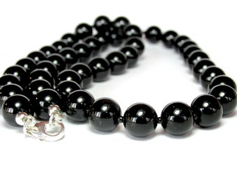 Mens Onyx Necklace, Beaded Necklace, Chunky Necklace, Mens Black Necklace, Gemstone Necklace, Silver Necklace, Handmade Necklace