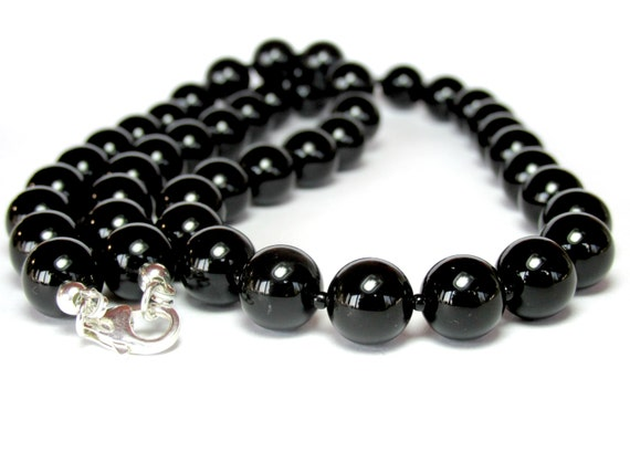 mens onyx necklace beaded necklace chunky necklace mens