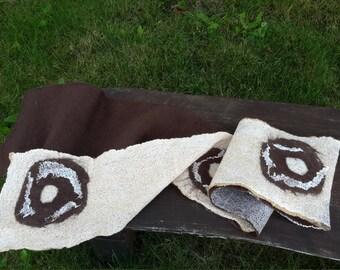 Felted Long Brown Beige Scarf Seasons scarf Merino wool cotton