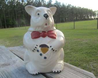 McCoy cookie jar, Bear cookie jar, Vintage cookie jar, kitchen decor, collectible, Polar Bear, Mid Century