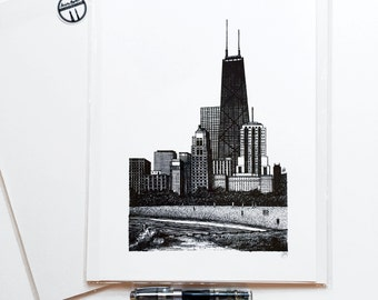 Chicago Art Architectural Pen and Ink Drawing of St. Charles