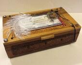Trinket Box, Jewelry Storage, Chinese Fortune Theme Cedar Cigar Box