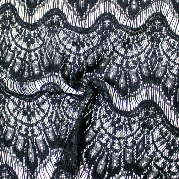Black Eyelash Cotton Blend Lace Fabric By The Yard Or