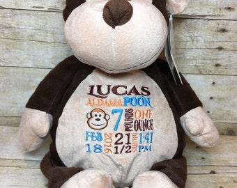 Personalized Embroider Buddy Stuffed Animal Monkey