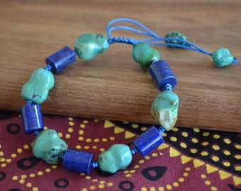 Nature Raw Turquoise With Cylindrical Lapis Bracelet