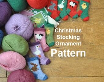 Farm Animals Christmas Stocking Ornaments Knitting Pattern    Easter Animals Stocking Pattern