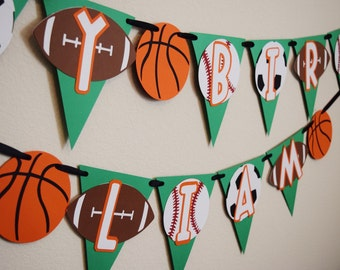 Sports Birthday Party Happy Banner Boy Decorations