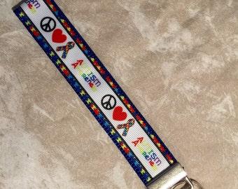 Autism Awareness - Peace Love Autism Awareness Wristlet Keychain (1)
