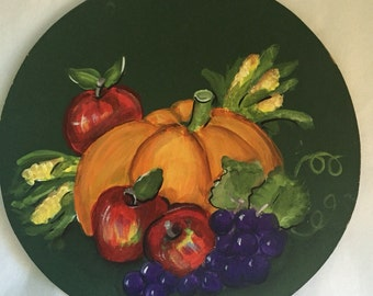 Autumn Harvest Pumpkin Fruits Painted on a Round Wood Trivet Thanksgiving