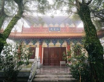 Historic building in fog, at Ngong Ping, Lantau Island, Hong Kong. | Photo Print, Stretched Canvas, or Metal Print.