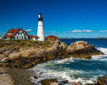 Portland Head Lighthouse at Fort Williams Park, Cape Elizabeth, Maine. | Photo Print, Stretched Canvas, or Metal Print.