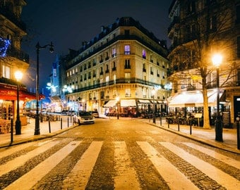 Rue Jean du Bellay at night, in Paris, France. | Photo Print, Stretched Canvas, or Metal Print.
