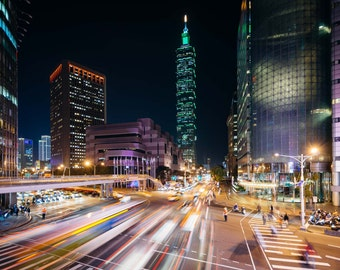 Traffic on Xinyi Road and view of Taipei 101 at night, in Taipei, Taiwan. | Photo Print, Stretched Canvas, or Metal Print.