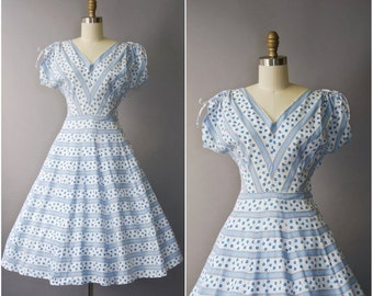 SUMMER SALE 1950's Blue Cotton Sun Dress with Shoulder Ties • small