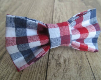 Dog bow tie. Cat bow tie. Bowtie. Dickie bow. Clip on or elastic. Red blue and white checked. Check, tartan, plaid. Boy. Puppy, kitten