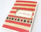 Just For You - Any Occasion Card - Americana Style Card - Vintage Style Card - Blank Card - Rustic Look - Red Stripes - Rustic Stars