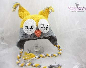Crochet Owl Hat, Baby Owl Hat, Owl Crochet Hat, Crochet Hat Owl, Owl Hat for Toddlers, Adult Owl Hat, Owl Hat for Baby,  yellow owl hat