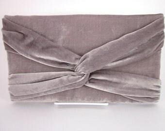 Gray Velvet Clutch Purse with Twist Detail