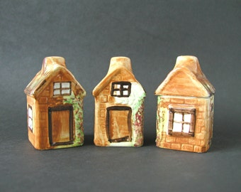 Vintage 3-Piece Set Salt & Pepper Shakers Matching Sugar Container Small Cottage Houses