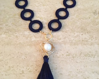 Navy blue Crochet Necklace.  Handmade necklace.  Wire wrapped pearl.  Crochet jewelry