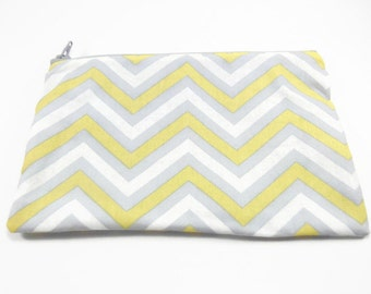 Yellow and Grey Chevron Bag, Zig Zag Zipper Bag, Beautiful Bag, Yellow Cosmetic Bag, Grey Makeup Bag, Travel Bag, Zipper Clutch, Chevron Bag