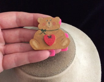 Vintage Wooden Teddy Bear With Heart Pin