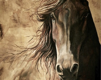 WISDOM 12x18 print from acrylic painting of a horse.  Archival high quality print home decor giclee print equine