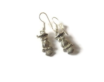 Silver Plated Owl Earrings