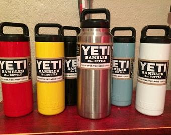 New Yeti rambler water bottle 18oz powder coated- graduation gift - teachers - students- custom-monogram-etch-engrave-tiff teal-student