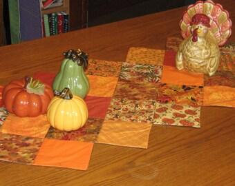 Fall Table Runner, Gold, orange,brown,rust