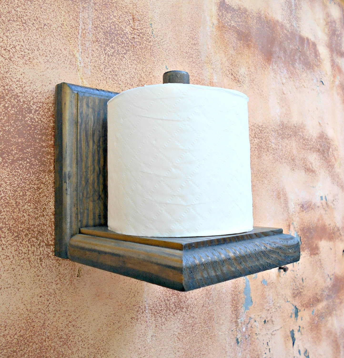 Toilet Paper Holder Rustic Wood Tissue Paper Holder Gray