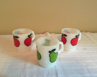 FIRE KING APPLE and pear mug, set of 3