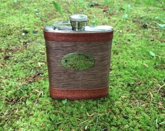 Wood Veneer Flask-6 oz Flask-Oak Bubinga Flask-Flask-Stainless Steel and Wood Veneer Flask