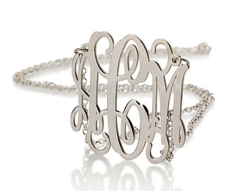 14K Solid White Gold Monogram Necklace - 1.5 Inch Personalized Gold Necklace