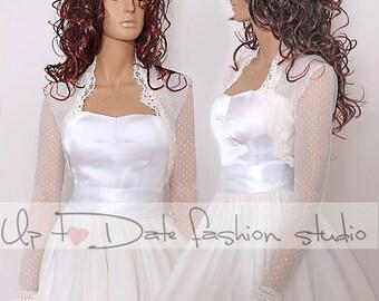 Bridal  ivory delicate dots  tulle  jacket/ bolero/cover up/,long sleeves wedding bolero