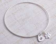 Paw bangle silver sterling silver paw print and personalised heart charm round hammered bangle Hallmarked Handmade Stacking pet memory