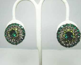 Vintage Lacy Rhinestone Earrings / Silver Tone Clip On Earrings With Emerald And Peridot Rhinestones