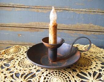 Chamber Candlestick  Holder,  Candlestick Holder,  Rustic Candle Holder,  Black Candlestick Holder,  Rusty Candlestick Holder, Primitive