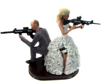 Armed Couple Custom Wedding Cake Topper for Hunters, Shooters, Tactical Rifle, AR-15 Enthusiasts