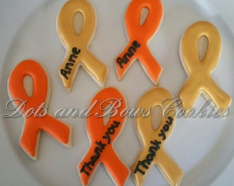 Cancer Awareness Ribbon Cookies