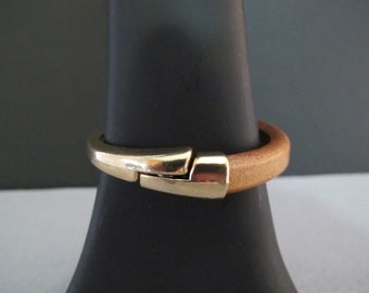 Tan Leather and Gold Tone Bracelet/Sale! All Sales Final
