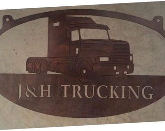 Huge 4ft metal sign with SEMI TRUCK  with your NAME
