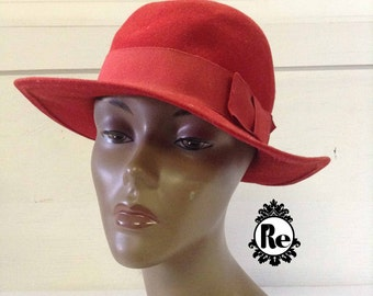 Vintage Women's Hats 1970's  Red Wool Felt Hat Cap Tam Hat with Grosgrain Ribbon Trim No. 65